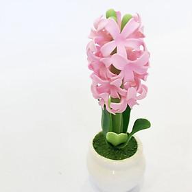 Chậu hoa đất sét mini - Cây dạ lan hương (phát màu ngẫu nhiên)