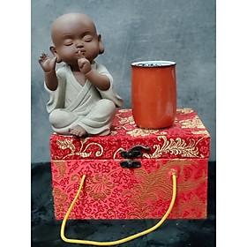Tượng Chú tiểu không nói (Tặng kèm ly trà gốm Nhật) - CT08