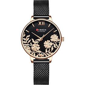 CURREN 9065 Elegant Exquisite Casual Business Quartz Women Watch Sakura Flower Embossed Simple Wrist Watch 3ATM