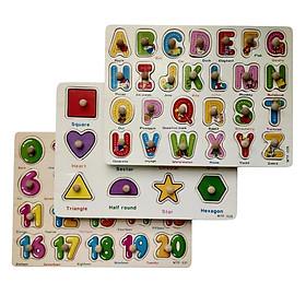 Đồ chơi gỗ Skids, Combo 3 bảng chữ cái, bảng số, bảng hình học cho bé phát triển kỹ năng
