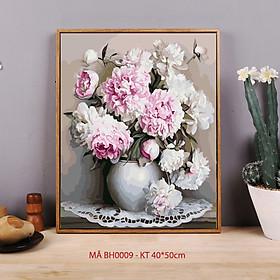 Tranh sơn dầu số hoá tự vẽ trang trí có khung - Mã BH0009 Bình hoa mẫu đơn