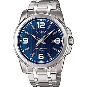 Casio Men's MTP-1314D-2A Enticer Series Silver Band Blue Dial with Date Dress Watch