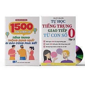 Combo 2 sách: 1500 Câu chém gió tiếng Trung thông dụng nhất + Tự Học Tiếng Trung Giao Tiếp Từ Con Số 0 Tập 2 (Có audio nghe) + DVD