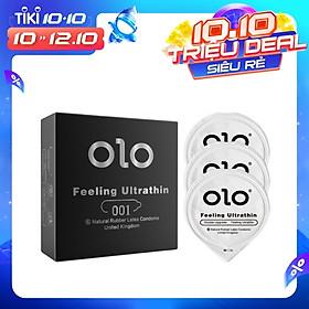 Bao cao su OLO siêu mỏng 0.01mm Feeling Ultra Thin màu đen - hộp 3 chiếc - olo_store