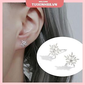 Đôi bông tai hình hoa tuyết màu bạc thời trang Hàn Quốc cho nữ MS04