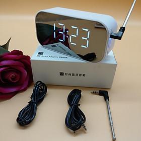 Loa gương Bluetooth FM siêu trầm có báo thức đồng hồ - Tặng Tai nghe + Cáp sạc có đèn Led + Vòng tay Tùy hưu
