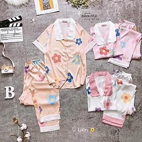 Mẫu Hot Đồ Bộ Pijama Mặc Nhà Lụa Latin Hàng Thiết Kế Màu Sắc Trang nhã Vải mềm mịn mát