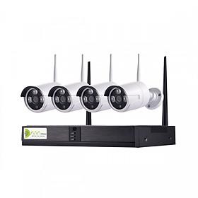 Bộ Kit Wifi NVR 4100 Kit 4 mắt 720P_ 4 mắt camera thân nhỏ, ổ cứng lưu trữ,4 nguồn cho mắt camera, 1 nguồn cho đầu ghi và các vít nở - Hàng Chính Hãng