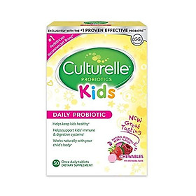 Culturelle Kids Chewable Daily Probiotic for Kids -Natural Berry– Supports Immune, Digestive, and Oral Health – For Age 3+ - Gluten,Dairy,Soy-Free - Packaging May Vary - 30 count