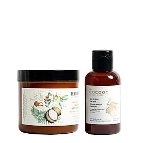 Combo Gel bí đao rửa mặt Cocoon 140ml + kem ủ tóc siêu dưỡng Herbario 500ml