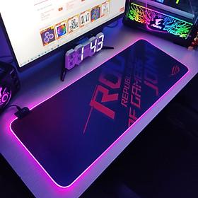 Mouse Pad, bàn di chuột, lót di chuột tích hợp Led RGB ROG sáng viền, kích thước 80cm x 30cm dày 4mm - Hàng nhập khẩu