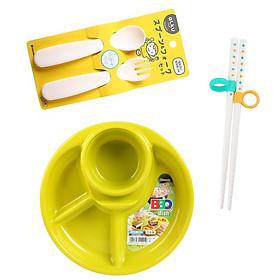 Combo 3 dụng cụ ăn dặm cho bé (khay tròn + thìa dĩa + đũa)