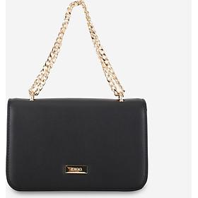 Túi đeo chéo nữ nắp gập phom hộp chữ nhật phối dây xích trẻ trung IDIGO FB2-385-00