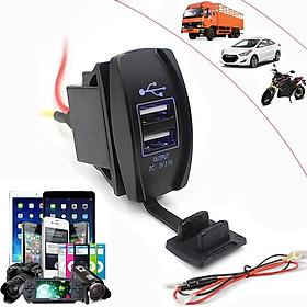 Sạc Điện Thoại 2 Cổng USB Có Đèn Led Cho Xe Ô Tô, Xe Máy 12-24V