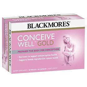 Viên uống Blackmores Conceive Well Gold hỗ trợ sức khỏe tiền thụ thai 56 viên (28 viên nang mềm và 28 viên nén) Nhập Khẩu Úc