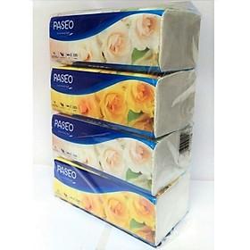 Combo 4 gói khăn giấy thếp Paseo 2 lớp ( 220 tờ / gói ) - màu ngẫu nhiên