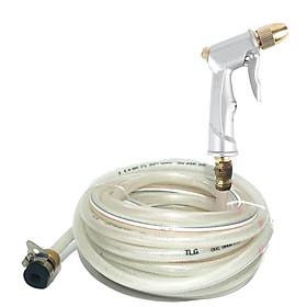 Bộ Vòi Bơm Đầu Đồng Tăng Áp Dùng Rửa Xe, Tưới Cây 15m vòi bạc-dây trắng 701710713-14981 vòi xịt rửa ,cọ xe,  tăng áp,máy bơm nước,vòi bơm nước,bộ dây bơm