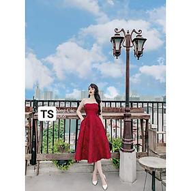 Váy Thiết Kế xòe dài, váy xòe gấm hoa chất tapta 3 màu xinh tươi - H&N Store