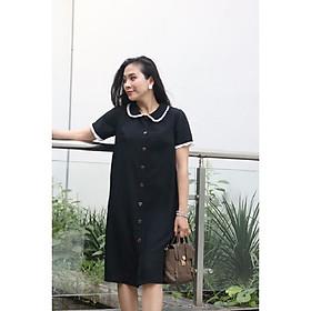 Váy đen xuông cổ sen cúc gỗ MB93