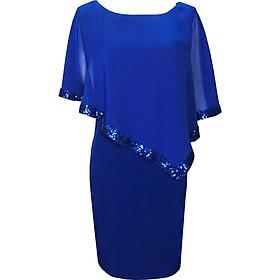 Đầm suông dự tiệc bigsize kiểu đầm suông cho người mập từ 42-85Kg phối voan kim sa màu Đen, Xanh, Đỏ Đô GOTI373