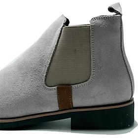 Giày chelsea boot cổ cao da bò lộn 3 Màu : Đen - Xám Nhạt - Vàng Bò (2H - 56)