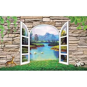 Tranh cửa sổ 3d| Tranh dán tường cửa sổ phong cảnh 3d 14