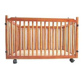 Cũi gỗ có bánh xe cho bé yêu - Màu gỗ