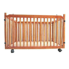 Cũi gỗ có bánh xe cho bé yêu ( Tặng 01 lục lạc gỗ phát tiếng vui nhộn cho bé )