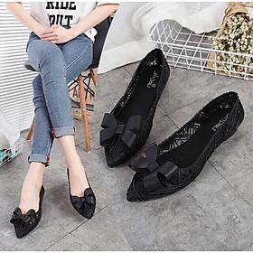 Giày nhựa đi mưa đính nơ thời trang nữ tính GN2