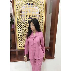 Áo Lam Đi Chùa - La Hán Nơ Màu Hồng Đậm