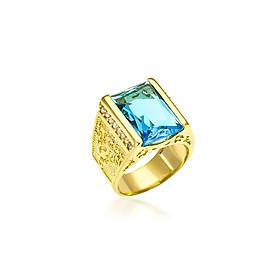 Nhẫn 200 xi mặt chữ nhật - xanh ngọc