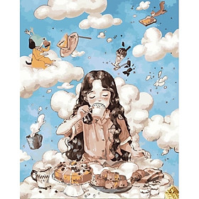 Tranh số hoá tự tô đã căng khung tranh tô màu theo số cô bé uống trà