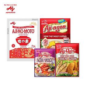 [COMBO 1] 1 Bột ngọt AJI-NO-MOTO 1kg + 1 Hạt nêm Aji-ngon 900g + 2 Bột tẩm khô Aji-Quick 84g + 4 Lẩu Thái Aji-Quick 50g