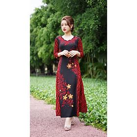Váy Trung Niên - Đầm Quý Bà thiết kế chất Thun kim sa ánh nhũ - thu đông dày dặn cao cấp/Váy cho mẹ - người già (Mã 521)