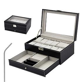 Hộp da bảo vệ đồng hồ, vòng tay ,mắt kính nam nữ thiết kế cao cấp, sang trọng (tặng ống hút inox)