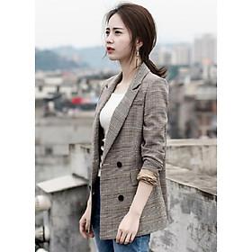 Áo vest blazer nữ kẻ caro linen dày dặn thời trang Hàn Quốc