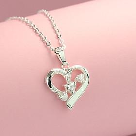 Dây chuyền bạc nữ, vòng cổ nữ bạc 925 mặt trái tim DCN0460