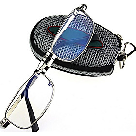 Men Women Folding Reading Glasses Eyeglasses Metal Frame with Keychain Glasses Bag 1.0 -4.0