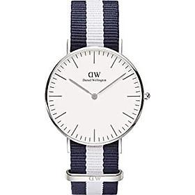 Daniel Wellington Classic Glasgow Silver Watch, 36mm, Nato, for Men and Women