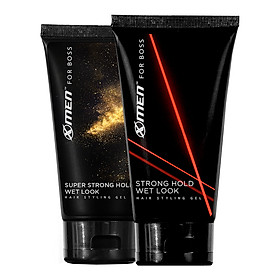 Combo 2 Keo vuốt tóc X-Men For Boss Gel Strong Hold Wet Look 150g + Super Strong Hold Natural Look 150g