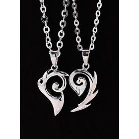 Dây chuyền đôi bạc dây chuyền cặp bạc trái tim ghép DCD0005