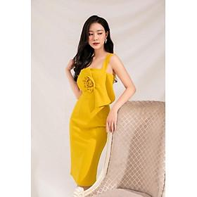 Đầm thun ôm thiết kế cao cấp 2 dây to phối hoa ngực màu sắc trẻ trung (có nhiều size)