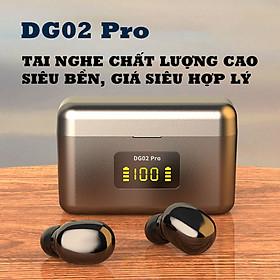 Tai nghe true wireless không dây chất lượng cao DG02 pro, bluetooth 5.2, sạc nhanh type C màu đen