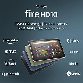 Máy tính bảng Kindle Fire HD10 2021 - 11th -  (All New Fire HD10 - 2021) - Ram 3GB, bộ nhớ 32GB, màn hình 1080 FullHD