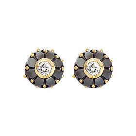 Bông Tai Galatea Jewelry Carved Pearl SP-04.04EYT - Đen