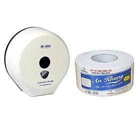 Combo 2 hộp đựng giấy vệ sinh cuộn lớn Roto RT3203A( Trắng) và 10 cuộn giấy vệ sinh cuộn lớn An Khang Caro500