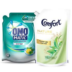Combo Thanh Lọc Khử Mùi Từ Túi Nước Giặt Omo Matic 2.3Kg Và Nước Xả Comfort 1.5L