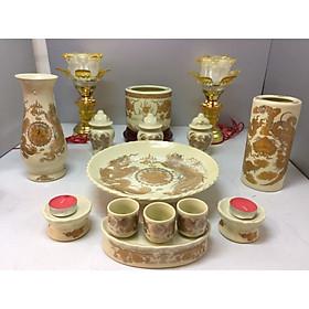 Bộ bát hương thờ rồng vàng ( gốm sứ bát tràng cao cấp)  comboo cả bộ + tặng tro đủ bát hương tặng nước sái tịnh đồ thờ