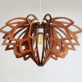 Đèn gỗ thả trần CAO CẤP hiện đại sang trọng 43x43x28cm chất liệu gỗ trang trí cho phòng khách nhà căn hộ decor nhà quán cafe