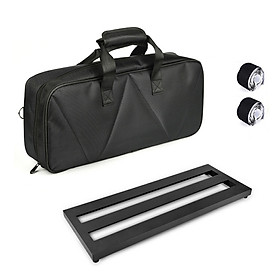Medium Size Guitar Effect Pedal Board Aluminum Alloy Pedalboard 19.7×7.5 Inch with Carrying Bag